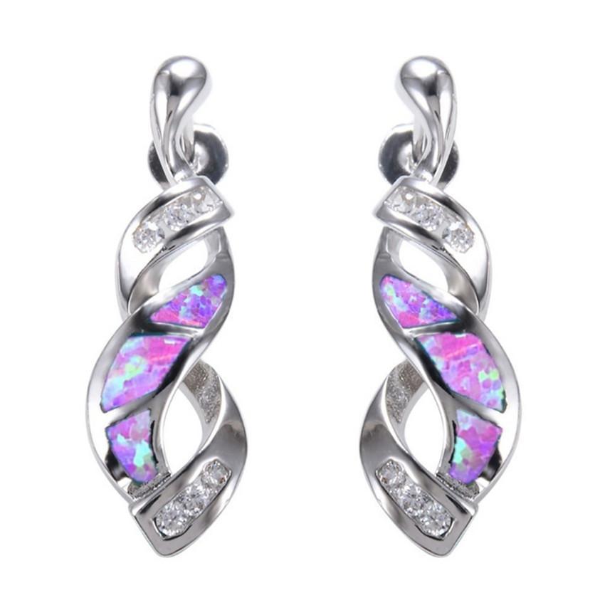 10 Pairs Trendy Gümüş Kaplama Saplama Küpe Büküm Birçok Renk Kadınlar Için Opalite Opal Partisi Hediye Takı