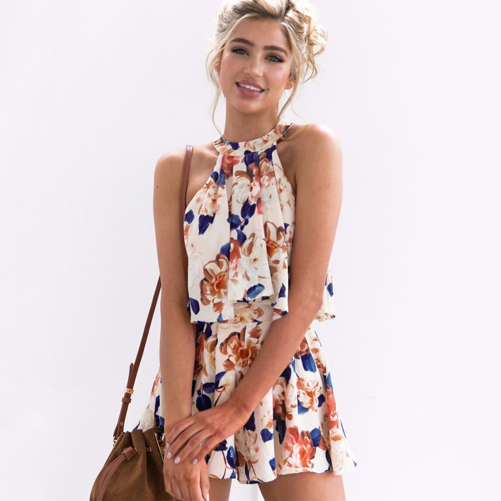 Frauen Vintage elegante Anzüge Sommer-Strand-lose beiläufige 2 PC Outfits Ärmel Reffles Halter Print Crop Tops A Line Shorts Sets T200603