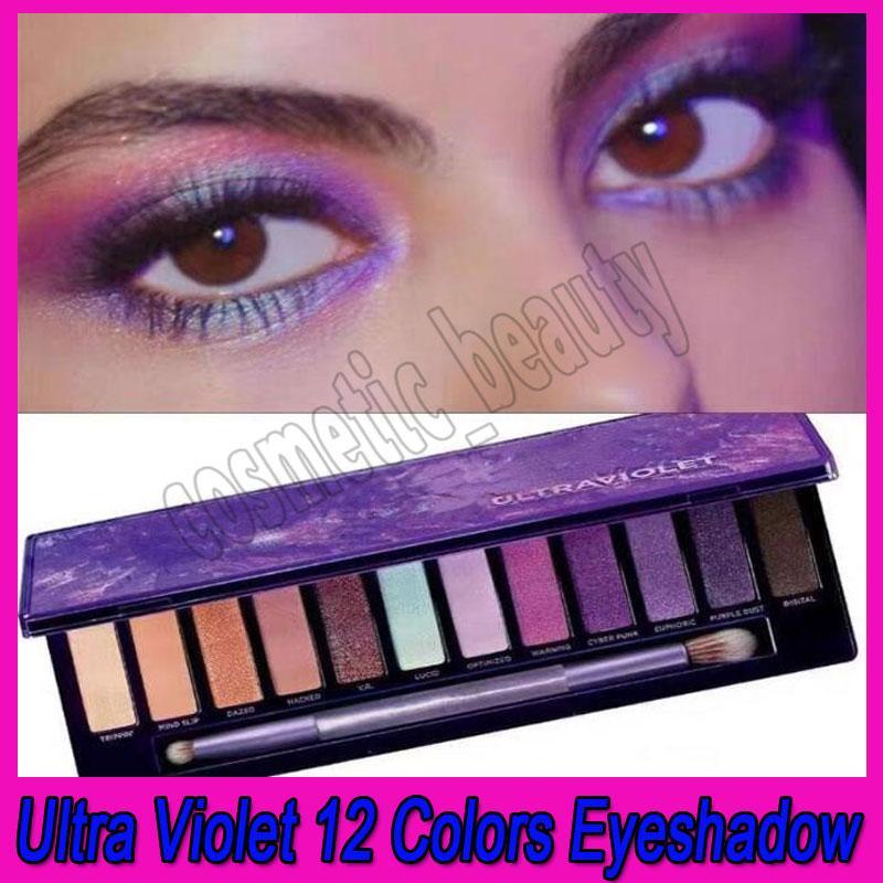 ماكياج العيون .Newest 12 الألوان البنفسجية لوحة ظلال الأرجواني ماتي وميض ظلال العيون مع فرشاة