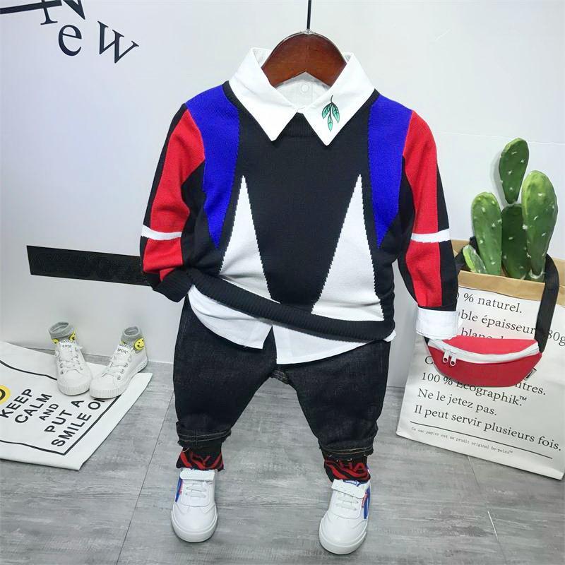 Ropa del bebé Ropa para Niños establece nuevos niños de algodón lindo manera + camiseta + pantalones vaqueros 3pcs conjuntos niño de manga larga-jersey de punto blanco