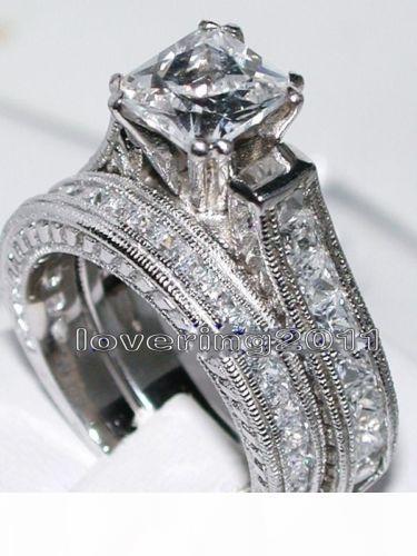 F Dimensioni 5 6 7 8 9 10 Antique Jewelry Nizza principessa Cut Topaz 14kt oro bianco riempito Gift Set Gf Diamonique Wedding Ring For Love