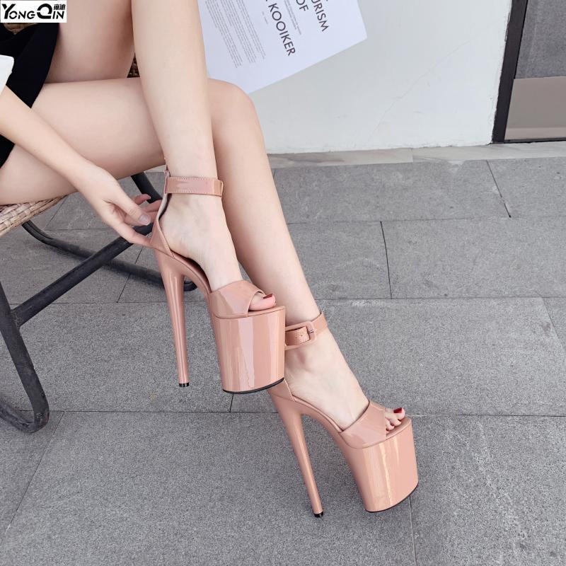 Nuevas sandalias de 20cm zapatos de las mujeres del alto talón sandalias de las mujeres bombea el tamaño 35-41