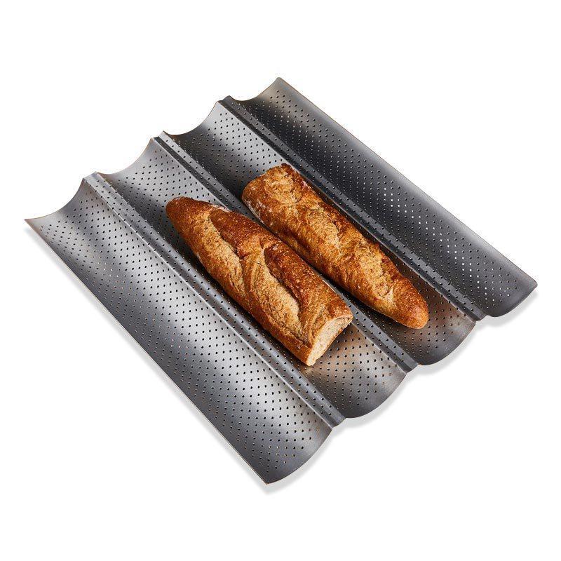 El nuevo 100% de la categoría alimenticia de acero al carbono 4 3 Groove Groove Groove 2 Ola francesa panificadora Bandeja Para Hornear Molde Baguette Pan caliente T200523