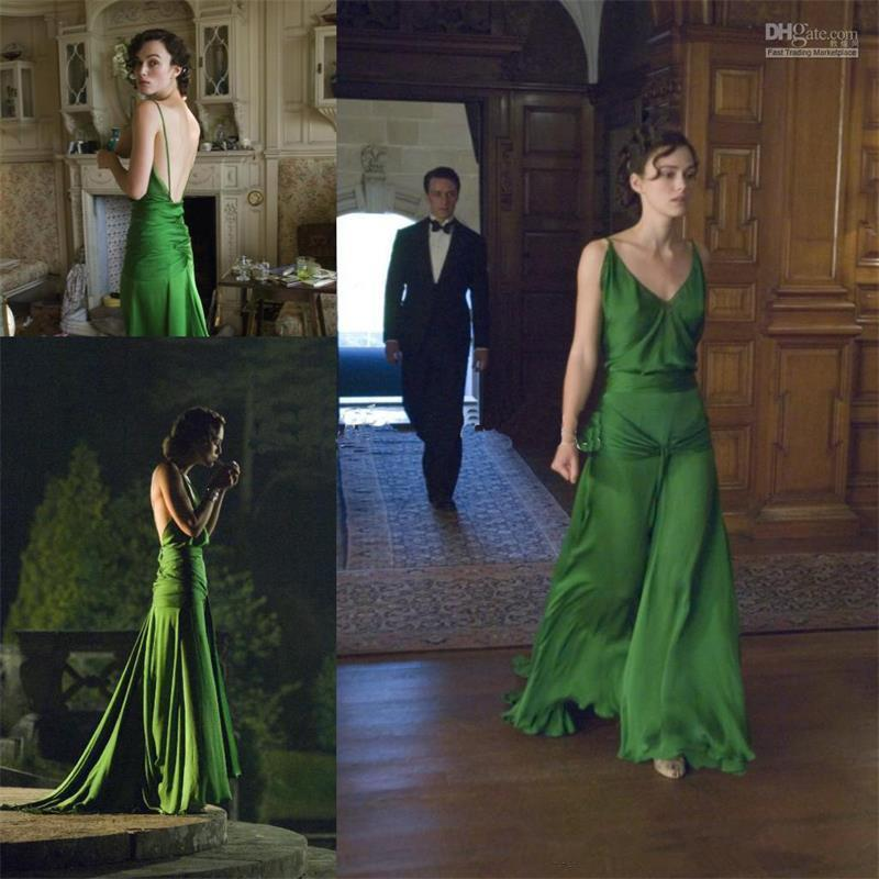 Hunter Green Dress on keira knightley from the movie atonement designed by jacqueline durran long celebrity dress Evening