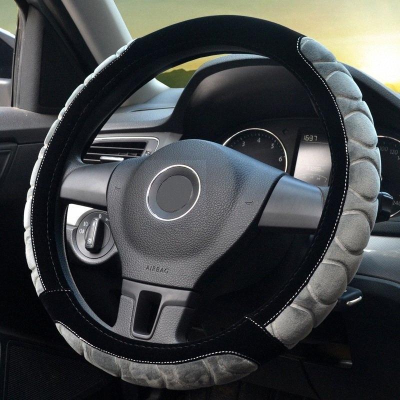 Volant impression de la couverture en peluche élastique Section volant de voiture Braid Cover Auto DIY Accessoires voiture Anti Slip doux tMU3 #