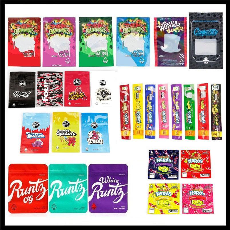 Vazios Mylar sacos de gás Co Nerds Corda mordidas Runtz Piadas Up OG Gasco Dank Gummies Gushers Wonka Conectado Edibles cookies California SF