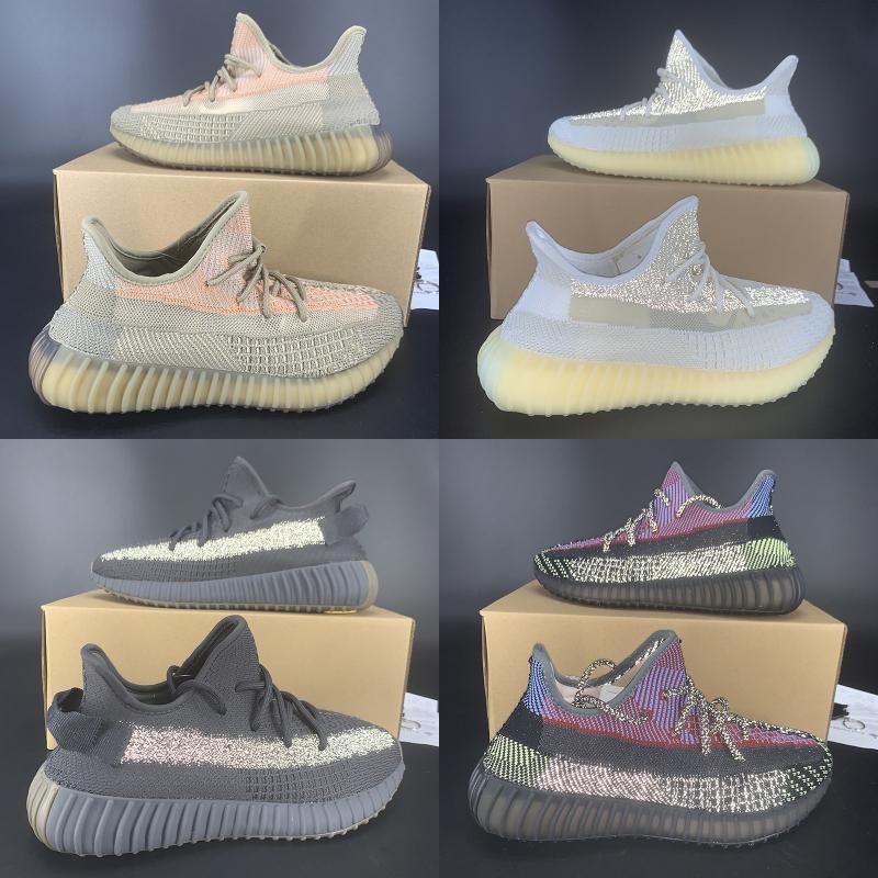 zapatos de Kanye reflectante con caja ABEZ Eliadá Cinder Oreo Asriel zapatos estáticos negro Yecheil Yeshaya cola enciende formadoras correr