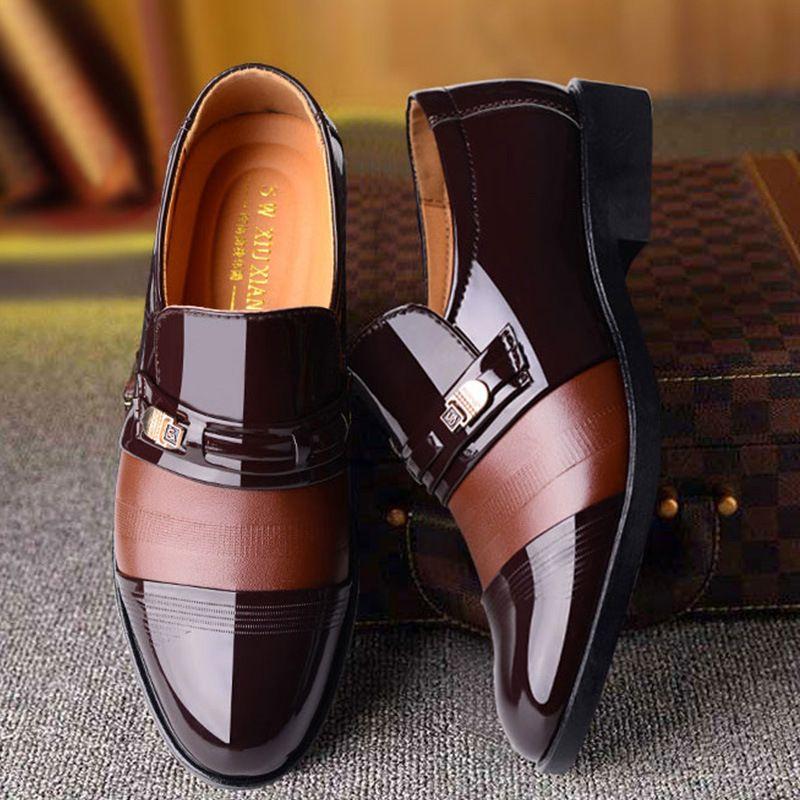 Luxury Business Oxford Lederschuhe Männer Breathable Gummi formales Kleid-Schuhe Männlich Büro Hochzeit Wohnungen Schuhe # 2046