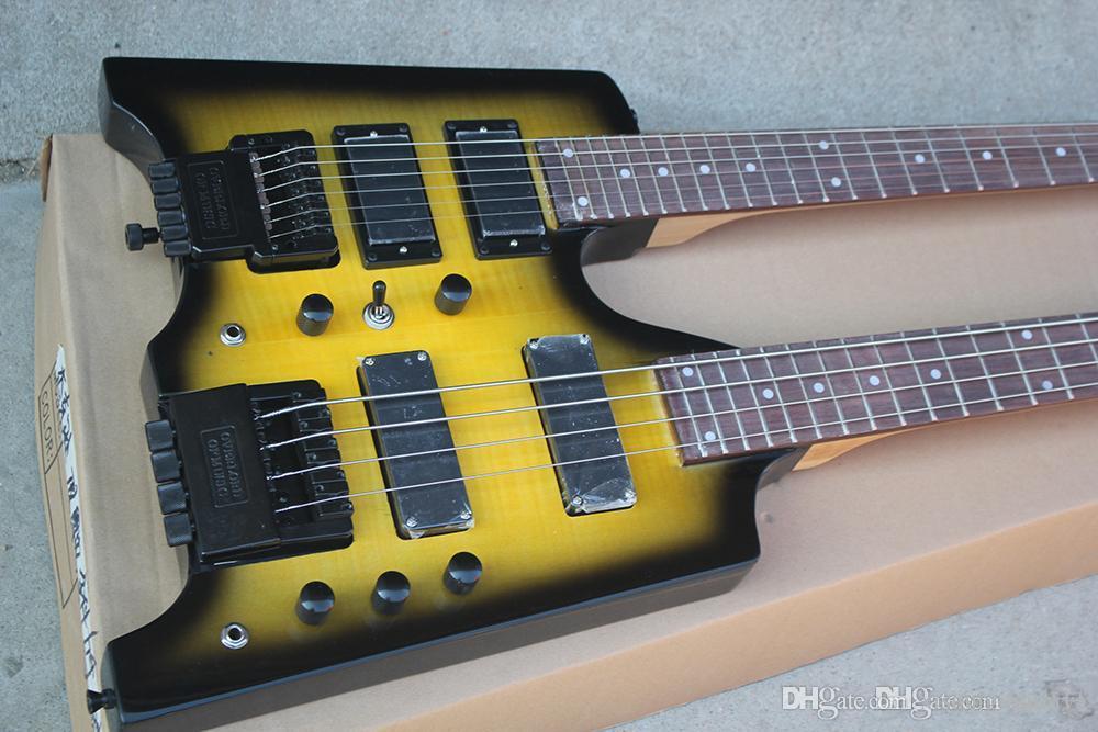 Fabrika Custom 6 + 4 Strings Floyd Rose, 24 Frets, teklif özelleştirilmiş hizmetler ile sarı Başsız Çift Boyun Elektro Gitar