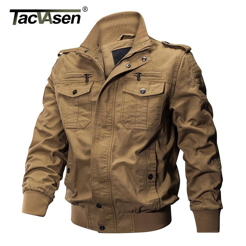 TACVASEN Vestes d'hiver d'hommes Veste militaire Airsoft pilote bombardier manteau de veste multi-poches Casual Cargo Veste de travail Vêtements pour hommes CX200801