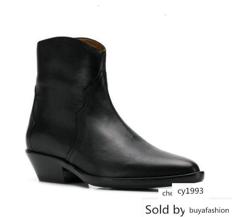 Perfeito Isabel Ocidental Tornozelo Preto Couro Paris Street Fashion New Cowboy Botas Sapatos