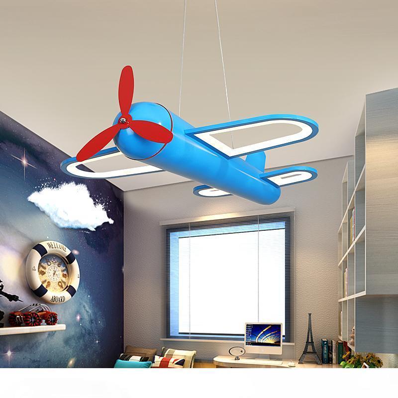 Camera per bambini Modern Chandelier Airplane Forma Lampadario ragazzo del fumetto creativo Fighter hangling lampada Led Camera Chandelier