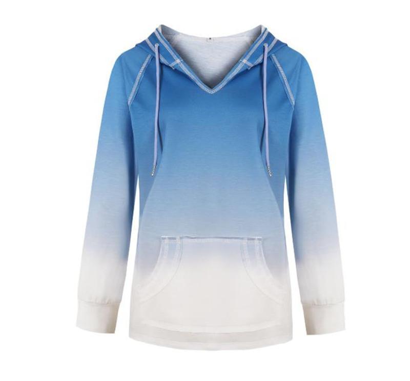 Mode Panelled Hoodie Frauen-T-Shirt Gradient Womens Designer-lange Hülse beiläufige mit Packet loser Femal Kleidung