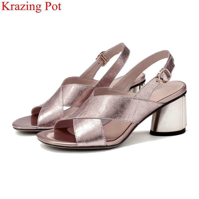 Vestido sapatos tamanho grande peep toe salto alto fivela fivela cinta elegante estilo estranho mulheres sandálias escritório senhora festa concisa verão l2f8