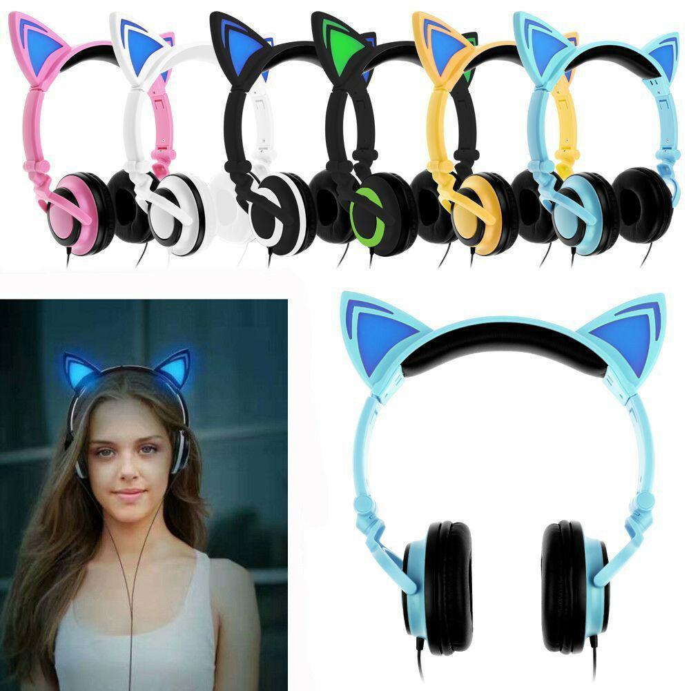 Cep Telefonu Kulaklık Sevimli Katlanabilir Kedi Kulak Kulaklık LED Işıkları Parlayan Kulaklıklar Evrensel Kafa Monte Karikatür Müzik Kulaklık