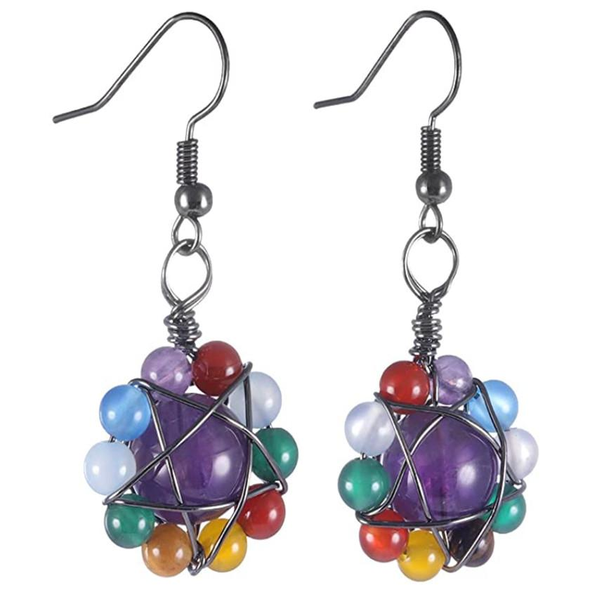 Wholesale 10 Pairs Silver Plated Wire Wrap Round Beads Amethyst Stone Drop Earrings Rock Crystal Ethnic Style Jewelry
