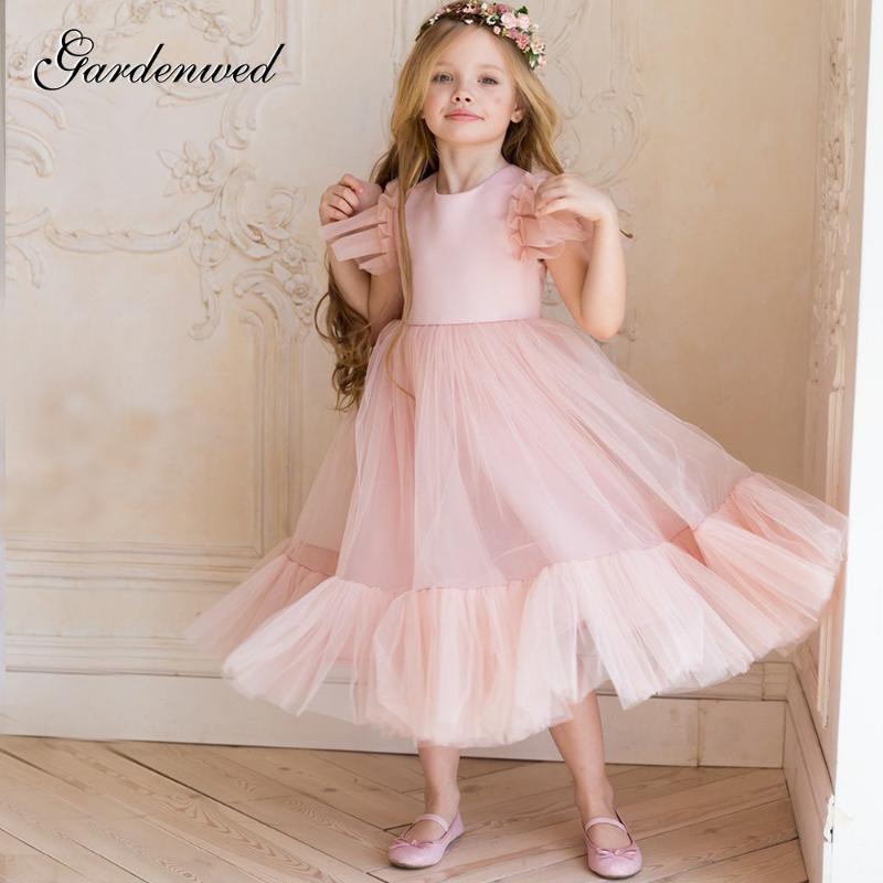 Gardenwed una linea fiore rosa Belle ragazza abiti per bambini Gradient Tulle Strati Prom Dress Backless tulle manica Celebrity Dresses