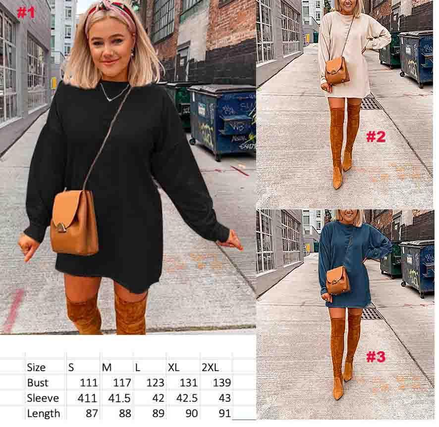 nuove donne autunno manica lunga solido stile semplice felpata casuale allentata della signora di modo pullover lunga tunica