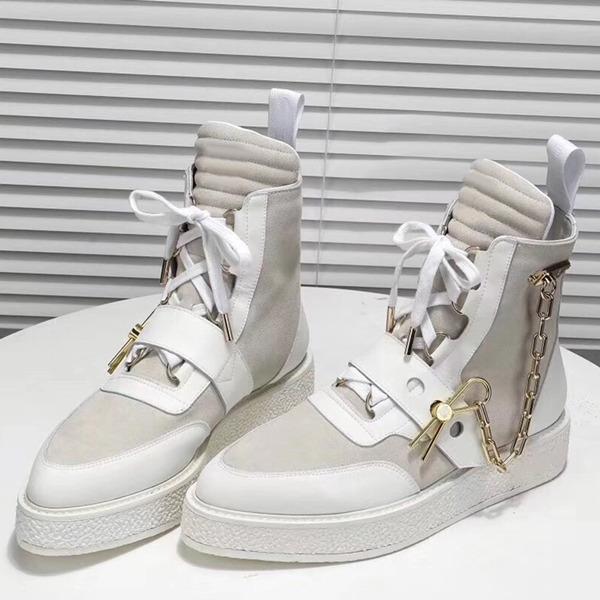 Chegada Nova Luxo Mens Creeper Botim com corrente dourada Couro Pin Womens Martin Botas monograma Sapatinho Sneaker Bota Designer Shoes c6
