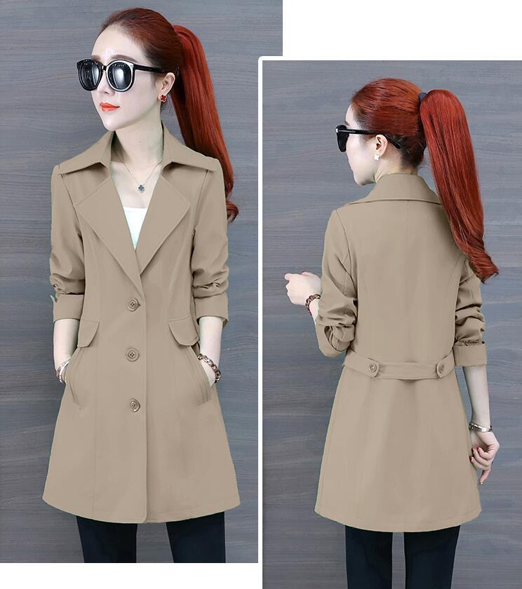autunno cinghia delle donne a vento di media lunghezza Hot Spring con abito monopetto con giacca bavero del cappotto capispalla