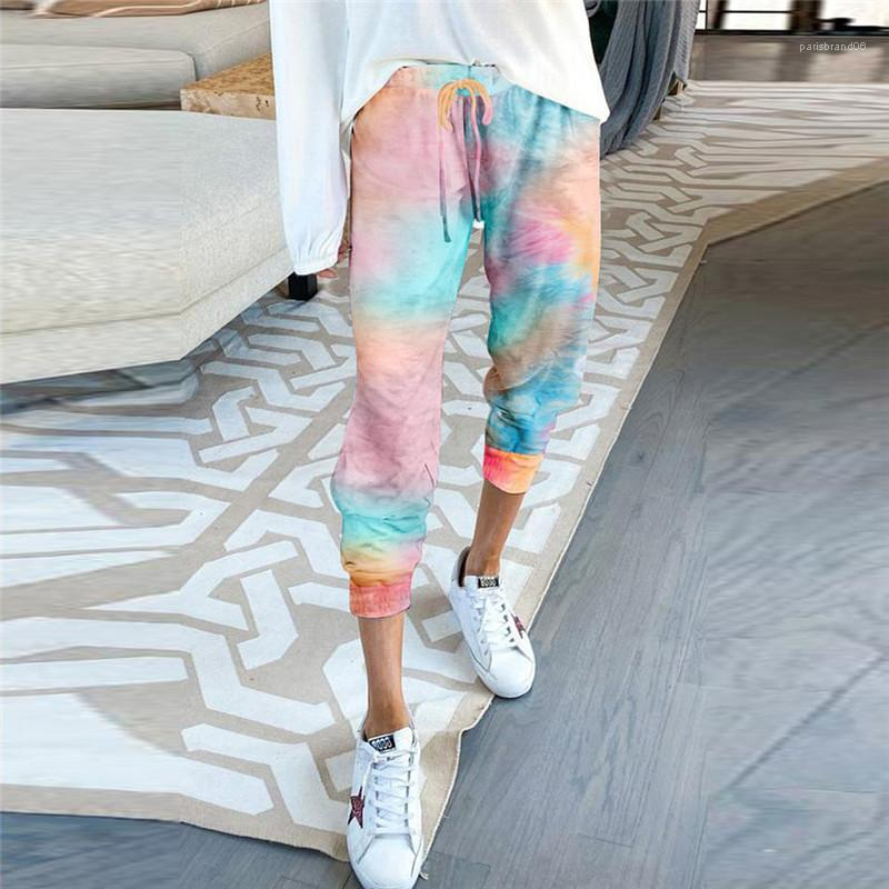 Дизайнер гетры Лето Женский Capris Плюс Размер Tie Dye женские брюки лето Цветочные Casual Высокая талия женщин