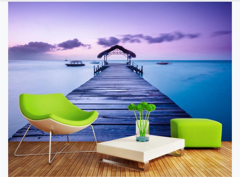 Personalizado 3D seda de gran mural fotográfico papel tapiz mural de madera con vistas al mar mar fondo del sofá del papel de la pared del dormitorio TV 3D Maldivas para las paredes 3d