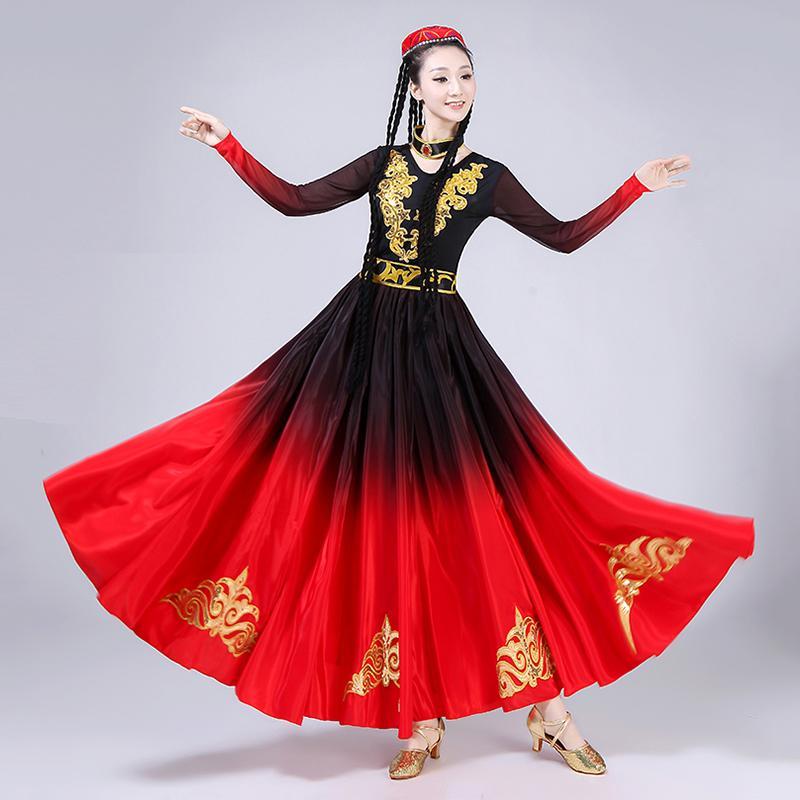 Traje de la danza tradicional china Flamenco Faldas Mujeres Hanfu Flamenco vestido oriental etapa del delirio traje 360/540 Grado DCC530