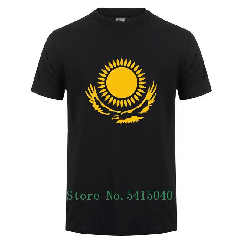 Été Camisetas Kazakhstan Drapeau T-shirts refroidissent T-shirt drôle Kazakhstan Vêtements pour hommes manches courtes 100% coton T-shirt