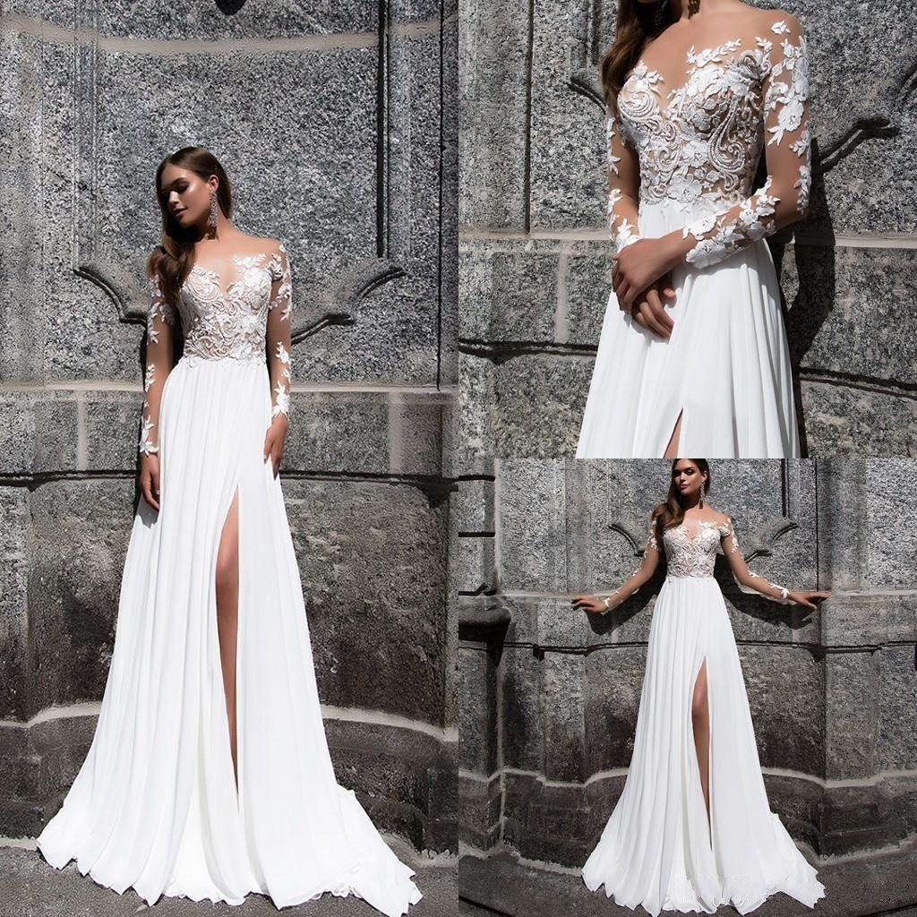 Пляж бифштексы Свадебные платья 2020 Sexy High Side Split кружева аппликация шифон Длинные рукава свадебное платье Свадебные платья Boho