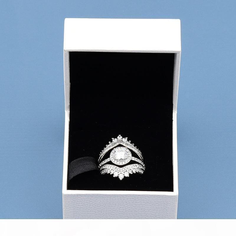 3 em 1 do anel de luxo definir Princesa Desejo Anéis Rodada faísca de Halo Anel de Designer 925 anel de prata esterlina com caixa original