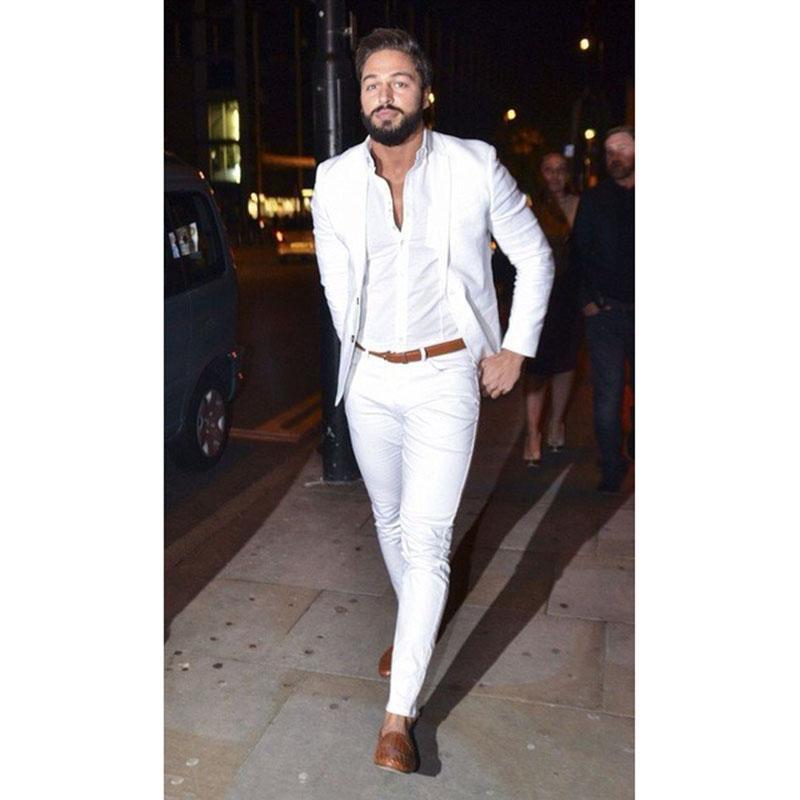 2020 White Linen Tuta Uomo festa di nozze Abiti casuali dimagriscono vestito degli uomini di moda smoking dello sposo insieme delle 2 parti (giacca + pantaloni)