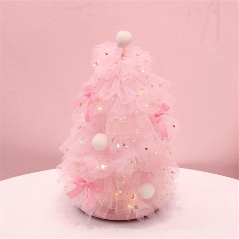 Decoración de escritorio INS chica rosado del corazón de Navidad noche soñando ligera del árbol principal de escritorio pequeño Decoración QW267 regalo