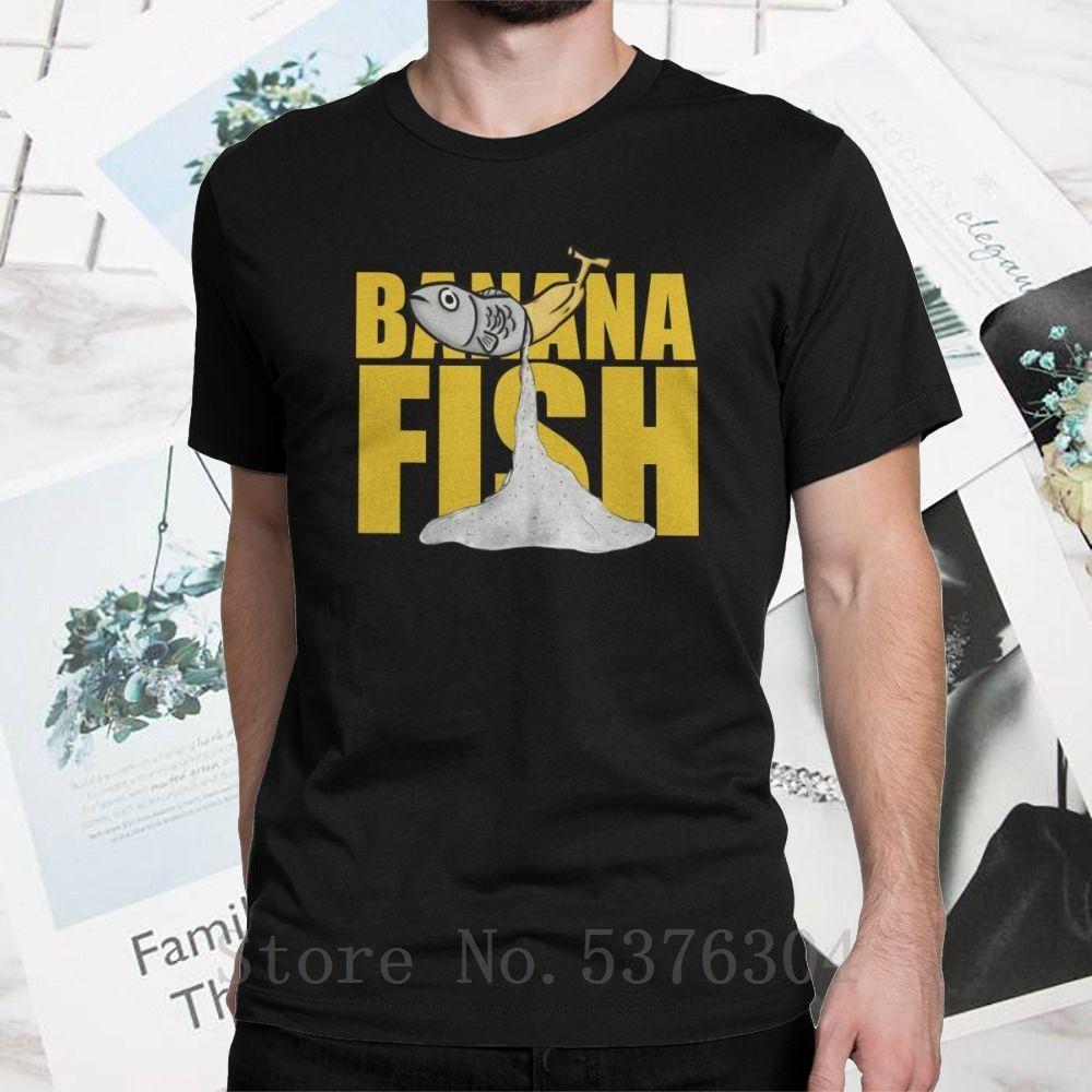 Neck o Muz Balık Tişört Eğlenceli T Shirt Erkek Kısa kollu pamuklu Siyah Tees T-Shirt giyim