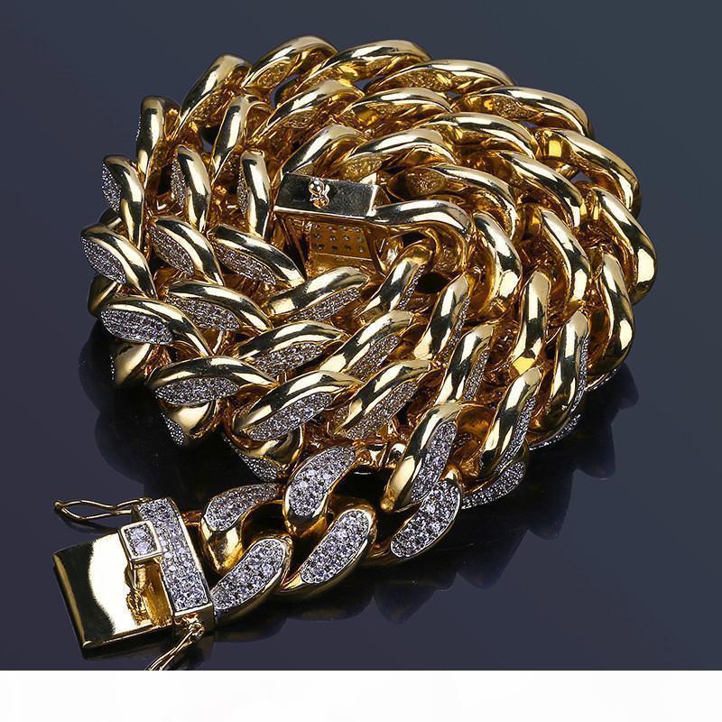 18мм Золото Серебро Hip Hop ожерелье цепи для мужчин Luxury Bling CZ Hip Hop Jewelry Майами Куба ожерелья Бесплатная доставка