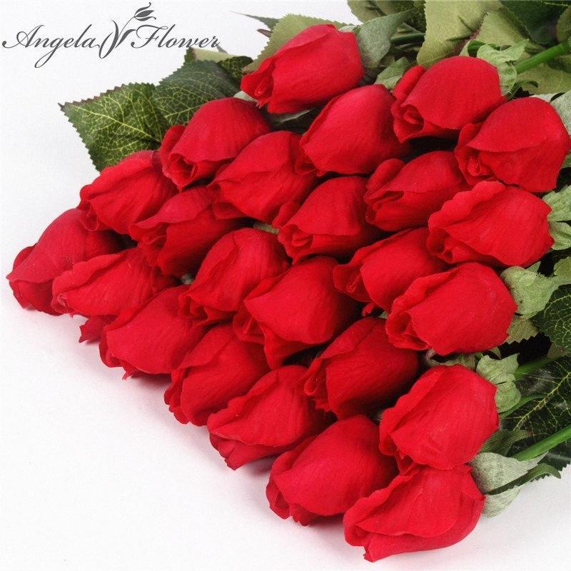 Vero tocco Rose Bud 25pcs / lotto di nozze di seta fiori artificiali bouquet casa decorazioni per la festa nuziale di compleanno o di piccole gemme qvyc #