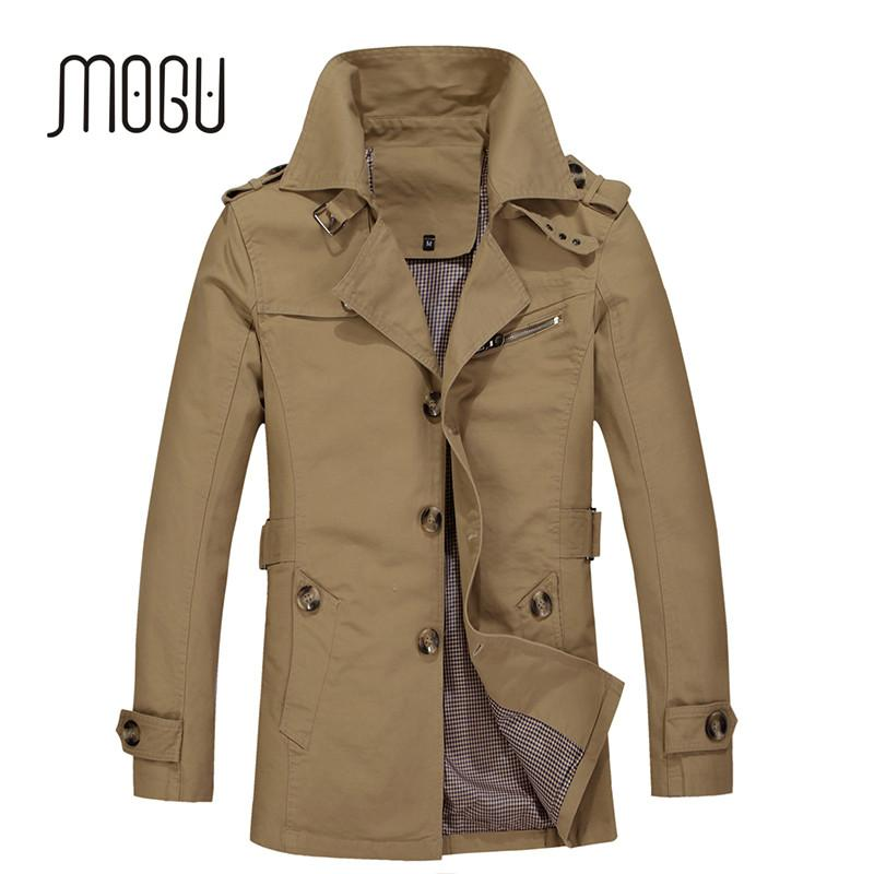 Mogu 2020 Yeni Geliş Moda Trençkot Erkekler Artı boyutu 5XL Hendek Erkekler Katı% 100 Pamuk Casual Ceket Haki Coats İçin