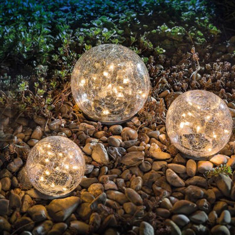 bahçe dekorasyonu için LED güneş ışığı Yeni 20/30 kırık görünüm tasarım Cam yuvarlak Gömülü Işık sıcak beyaz açık Çim ışık