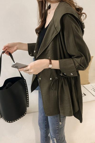 XPxDt 7NKax Vorfrühling Frauen Windjacke neu 2020 koreanischen Stil Kleidung lang bf mit Kapuze Trenchcoat Frauen-Mittellange beiläufige lose Hülse