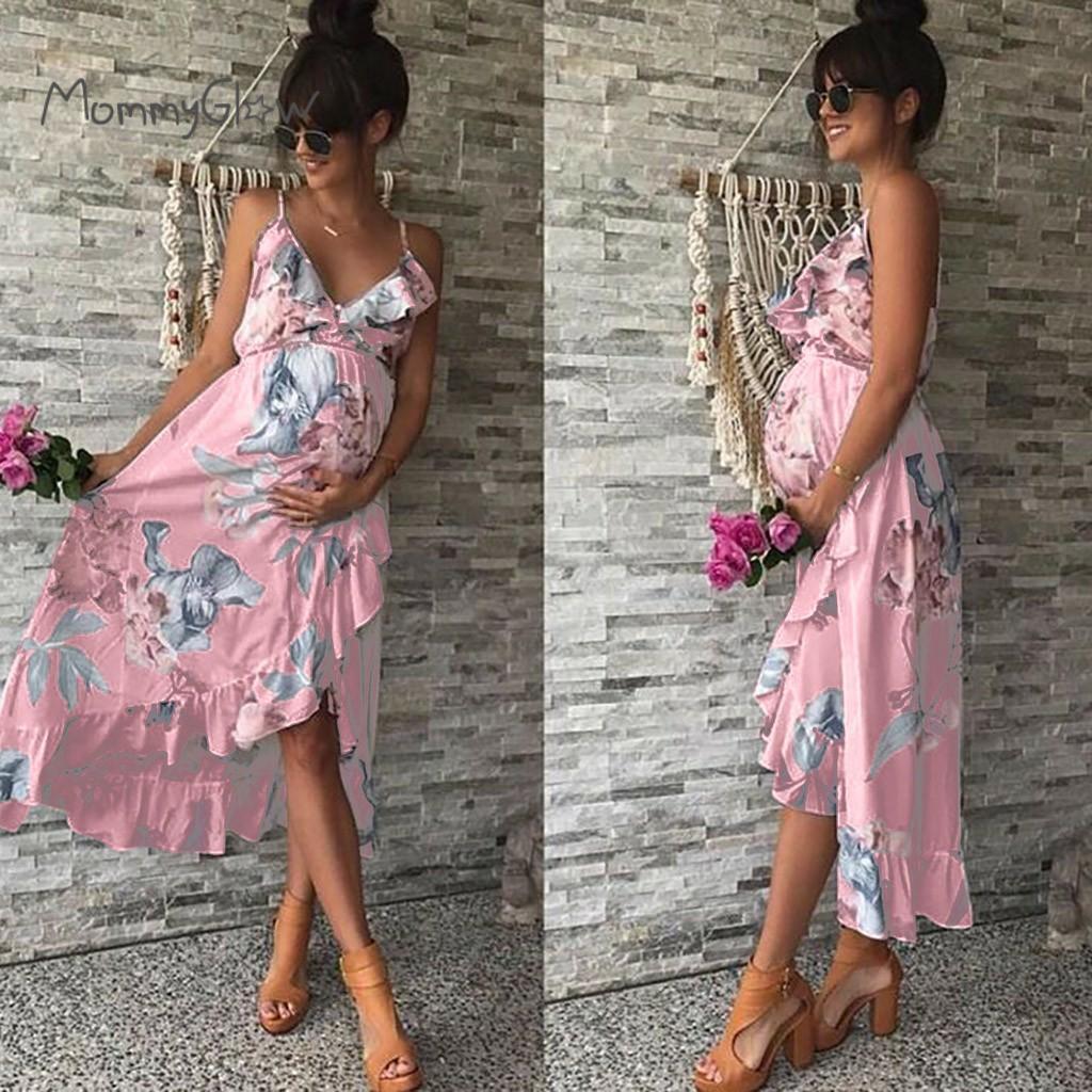 Maternità abiti di maternità abiti eleganti gravidanza Abito casuale stampato floreale increspature Falbala Vestito estivo per donne incinte CX200724