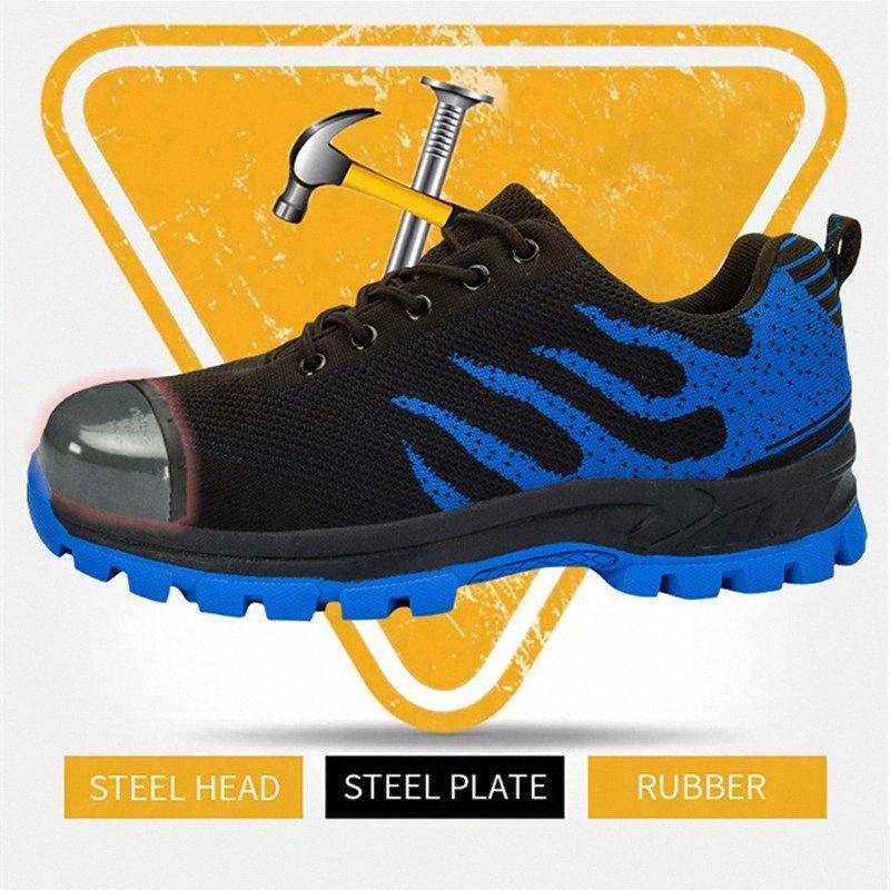 dos homens de segurança Toe Shoes Steel Construction protecção Calçado leve 3D à prova de choque Trabalho sapatilha sapatos para homens size48 A0aS #