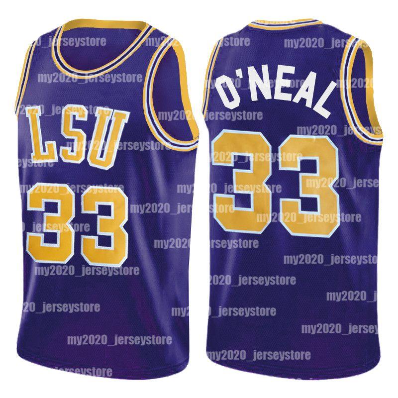 NCAA 33 SHAQ O'Neal LSU Tiger College Shaquille Eleal Auburn Charles 34 Barkley Gonzaga Bulldogs John 12 Stockton Basketball Trikots