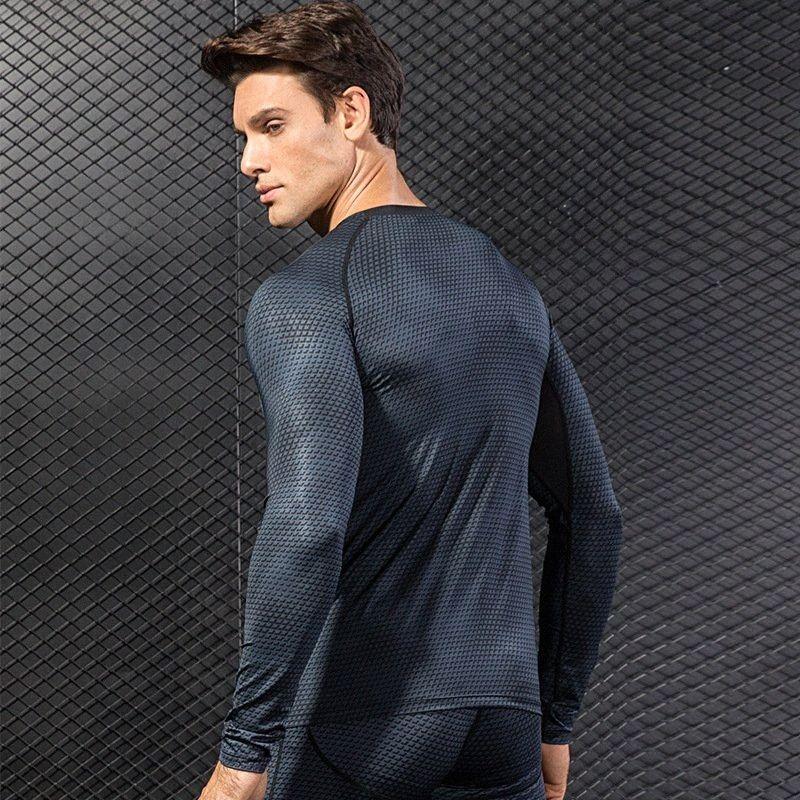 Männer 3D Printing Fitness Running Training-Hugging Langarm Elastic Sweat Schnell trocknende Compression Hemd Workout Bodybuilding woXh #