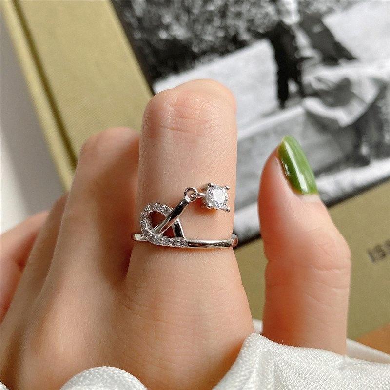 YPAY 100% genuino argento 925 anelli aperti per monili delle donne della Corea INS brillante matrimonio zirconi Anello di fidanzamento regalo YMR1062 vlMH #