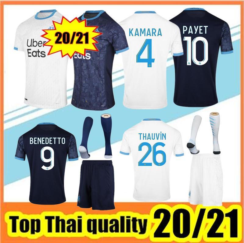 Thailand Quality 2020-2021 Марсель Футбол Джерси 20/21 Марсель Майоло-де-фута Cabella Payet L.Gustavo Thauvin Футболки