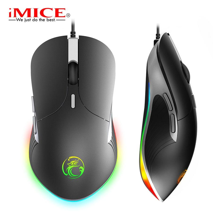 iMICE X6 USB Wired Gaming Mouse 6 Buttons 6400DPI RGB LED Optical Wired Cable Gamer Mouse For Computer Laptop Professional Game Mice