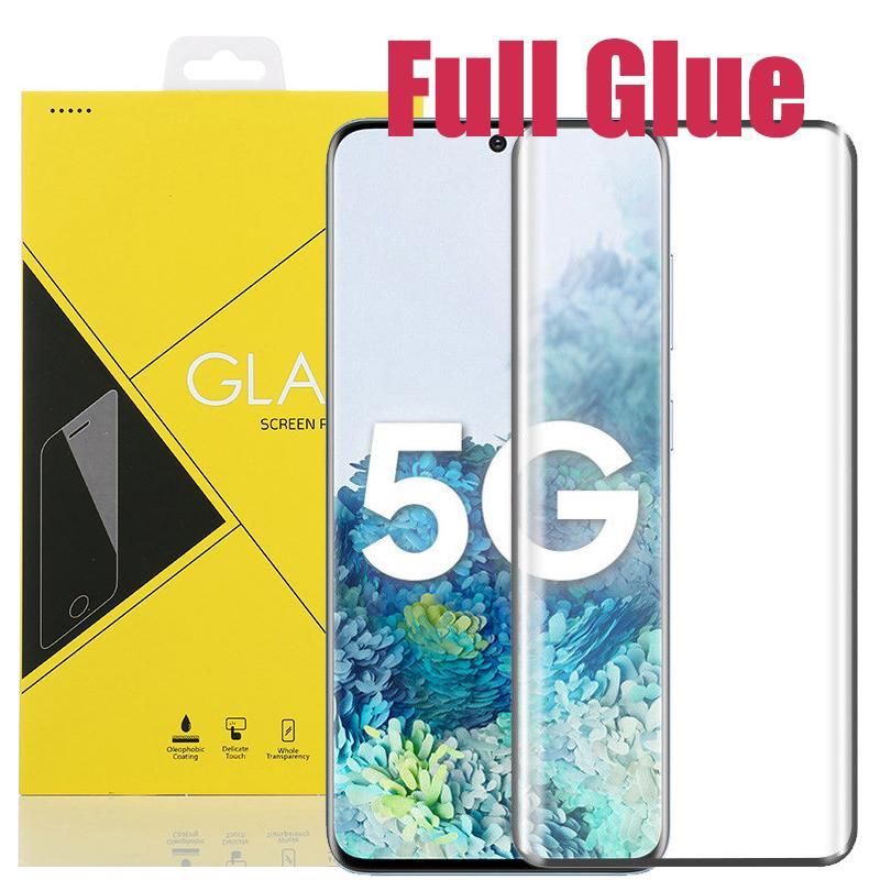 3D curvo completa Colla temperato copertura di vetro dello schermo della pellicola della protezione per Samsung Galaxy S20 Ultra S10 5G S9 S8 Nota 10 Plus 9 8 con box giallo