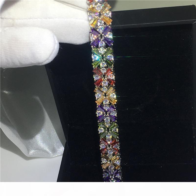 Multicolore fiore braccialetto 5A zirconi oro bianco riempito braccialetti festa di fidanzamento per accessaries sposa le donne