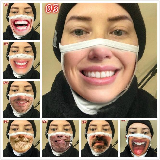 Wiederverwendbare 3D Printing Cartoon Gesichtsmasken Mundmaske Lustige Staubdichtes Maske UV-Beweis Waschbar Lauf Riding Gesichtsmaske 8 Stil