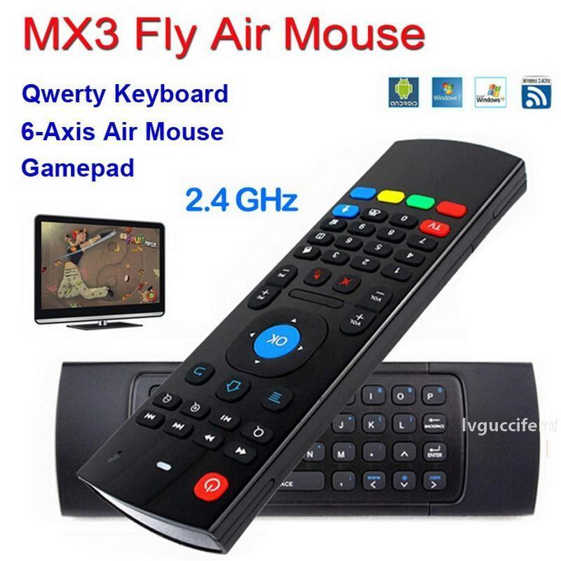 MX3 X8 T2 없음 마이크 미니 2.4G 무선 자이로 스코프 키보드 3D IR 학습 모드 플라이 에어 마우스 원격 G-센서 자이로 스코프를 들어 안드로이드 TV BOX