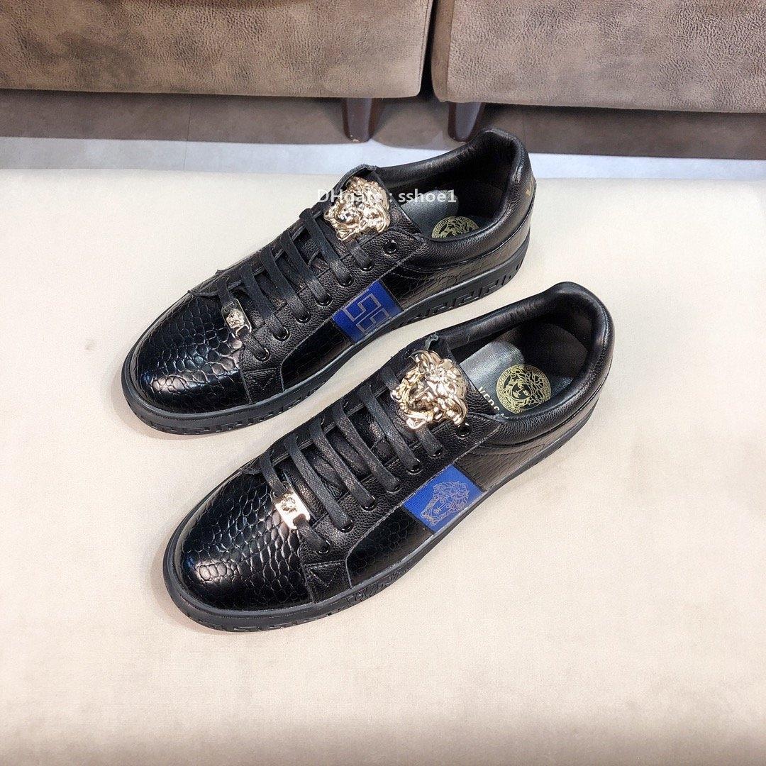 2021-2020s Neue High-End-Männer '; S Leder Jugend Low -Top beiläufige Gezeiten-Druck-Schuhe, -Qualität Modische Outdoor-Sportschuhe, Größe: